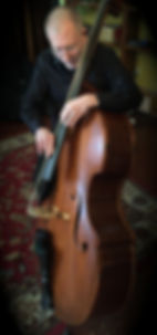 Chuck Israels playing his Kimmel Busetto corner bass©2016 by Charlie Porter; use dwith permission by Seth Kimmel  Bass maker/luthier of American made, real wood, hand-carved, double bass violins; Eugene, Oregon, USA