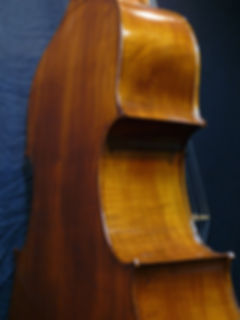 image of Beautiful Western Maple Double Bass C-bout ©2016 by Seth Kimmel  Bass maker/luthier of American made, real wood, hand-carved, double bass violins; Eugene, Oregon, USA