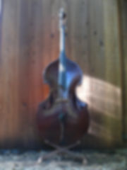 image of Redwood top, solo fingerboard and handmade graduated tailpiece©2017 by Seth Kimmel  Bass maker/luthier of American made, real wood, hand-carved, double bass violins; Eugene, Oregon, USA