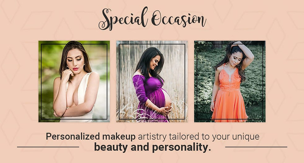 Makeup for: Bridal Parties, Mother of The Bride/Groom, Junior Bridesmaids, Flower Girl,Engagement, Bridal Shower,Bachelorette, Boudoir, Prom, Photo shoots, Quinceãnera, Sweet 16, Bat Mitzvah, Birthdays, Baby Showerand makeup for any special occasion.