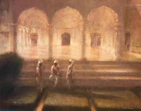 Amber Fort, Jaipur, Gardeners at Dusk