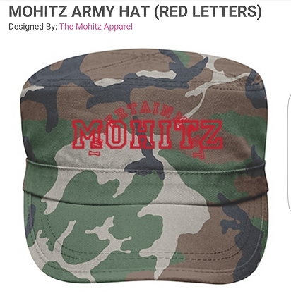 MOHITZ CAMOUFLAGE HAT (RED or BLACK L)