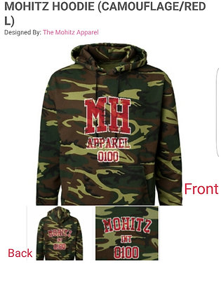 CAMOUFLAGE MH HOODIE (RED-BLACK-BROWN LETTERS))