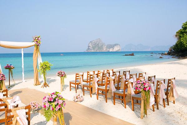 Wedding service on a tropica beach overseas