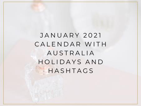 January 2021 Calendar with Australia Holidays and Hashtags