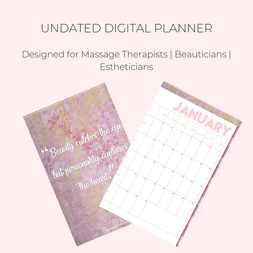 Undated Digital Planner for Massage Therapists | Beauticians