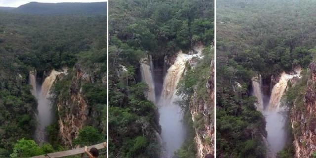 A força das águas da chuva deixou a cachoeira com várias quedas, algo incomum de se observar | FOTO: Montagem do JC/Madson Oliveira |