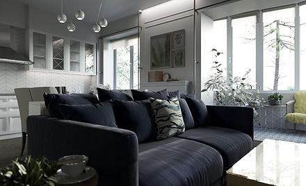 Дизайн гостиной в скандинавском стиле.