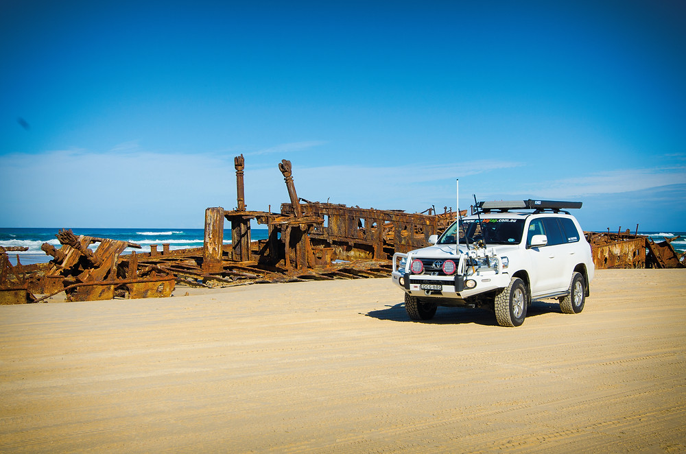Our 4WD alongside the wreck of the SS Maheno