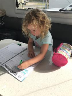 Updating her journal