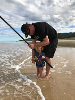 Fishing on 75 Mile Beach