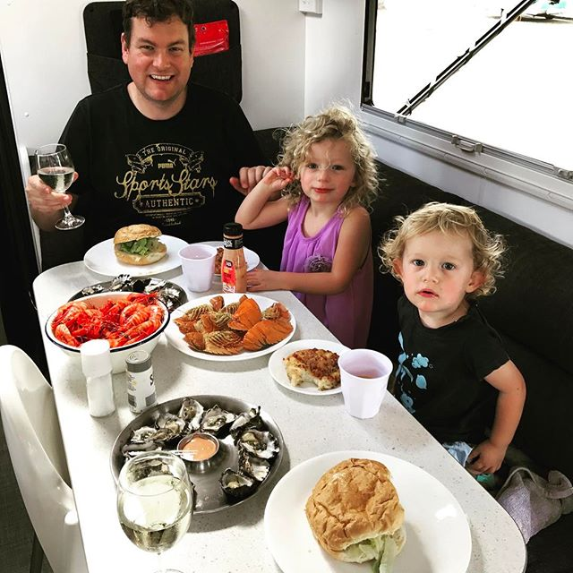 Just a casual little #seafood lunch in the #caravan Lloyd-style! First of many for #ourbiglap2017