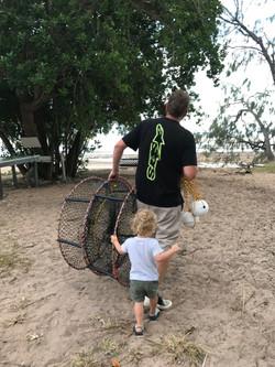 Off to set crab traps
