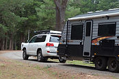 Toyota LandCruiser towing New Age Big Red Caravan