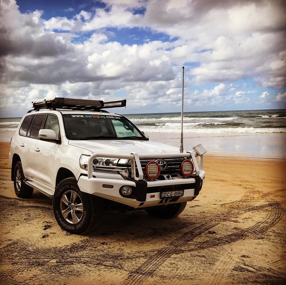First taste of beach driving, Rainbow Beach QLD