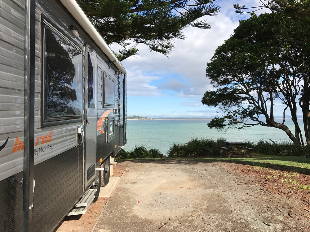 View from our caravan at Trial Bay, South West Rocks