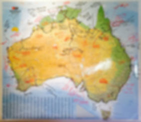 Map of Australia with planned travel route