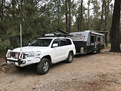 Toyota LandCruiser towing New Age Big Red Caravan