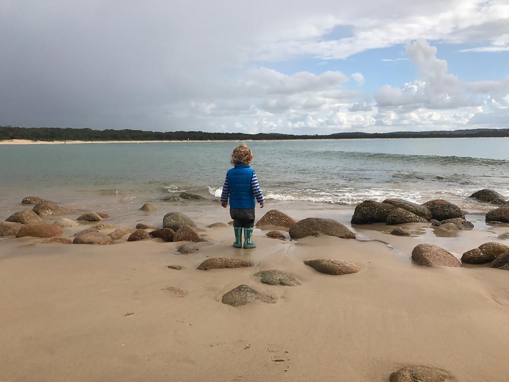 Finn taking in Trial Bay, South West Rocks