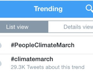 Trending hasthags: People's Climate March
