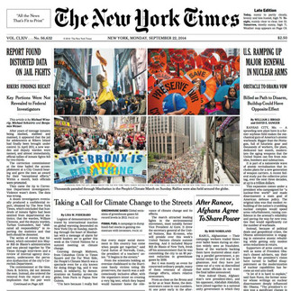 New York Times Cover 9/22/2014