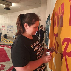 A few days ago, painting banners for the #peoplesclimatemarch with _mary.jpg