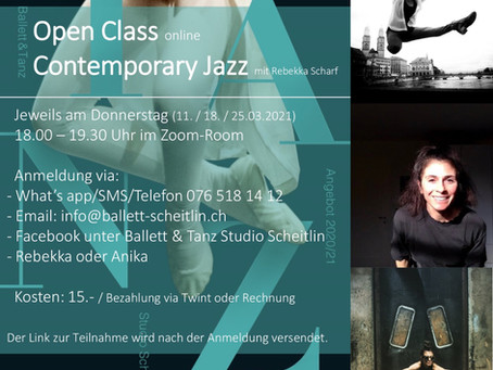 MORE DATES!! Open Class Online!!! Every Thursday 6pm!!! Contemporary Jazz mit Rebekka Scharf!!!