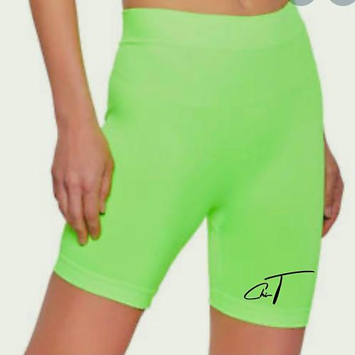 ChiT Neon Green Rib Biker Shorts
