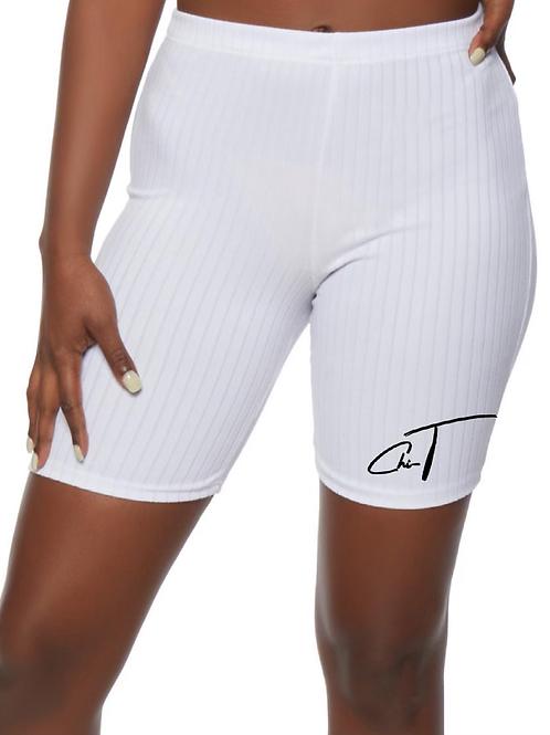 ChiT White Rib Biker Shorts