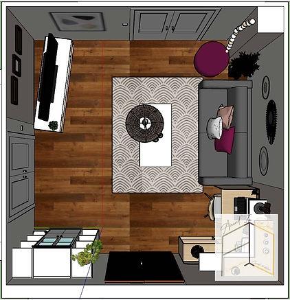 Plan d'agencement de la version claire de ce salon. Se représenter l'espace en trois dimensions est indispensable pour une décoratrice d'intérieur.