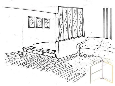 Croquis chambre avec verrière créé par Amandine Vonarx - Amand'in Déco, décoratrice d'intérieur UFDI près de Colmar