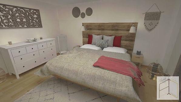 Après l'intervention d'Amand'in Déco, la chambre a une vraie identité. Le style bohème prédomine, pour une ambiance cosy et cocon.