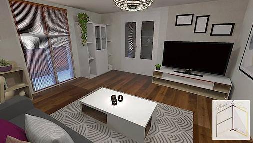 Première vue en 3D du salon lyonnais imaginé par Amand'in Déco. Une ambiance claire qui met en valeur la belle luminosité de la pièce.
