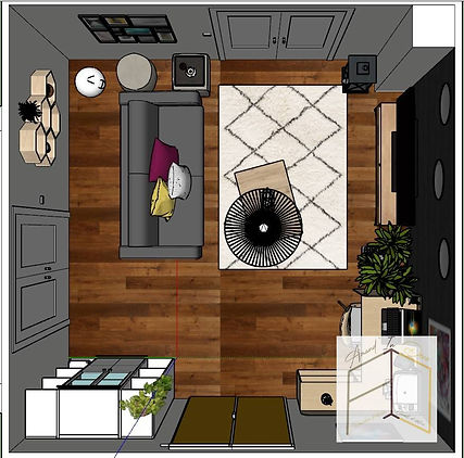 Plan d'agencement du salon imaginé par Amand'in Déco, version foncée. On ose utiliser le noir dans ce séjour lyonnais, oui !