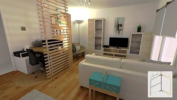 La taille du mobilier a son importance : ici, le canapé a juste les bonnes dimensions. Votre architecte d'intérieur près de Colmar vous aide à vous projeter et à faire les bons choix en matière de mobilier et de couleurs.