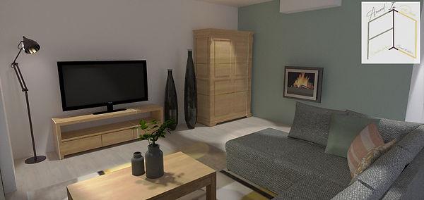 Modélisation 3D salon projet déco Amandine Vonarx Amand'in Déco, décoratrice d'intérieur UFDI près de Colmar