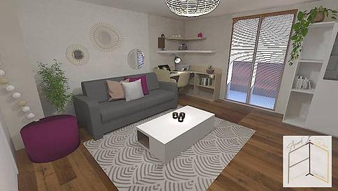 Vue d'un autre angle pour ce salon lyonnais créé par Amand'in Déco. Une ambiance cosy pour s'y sentir bien.