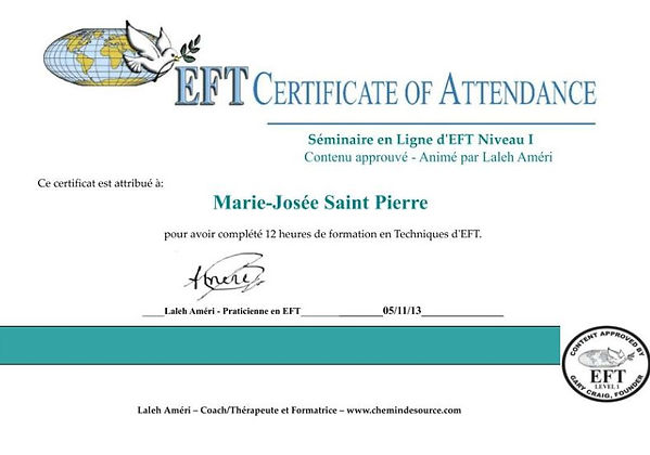 Certifications | Québec | Marie-Jo coach EFT