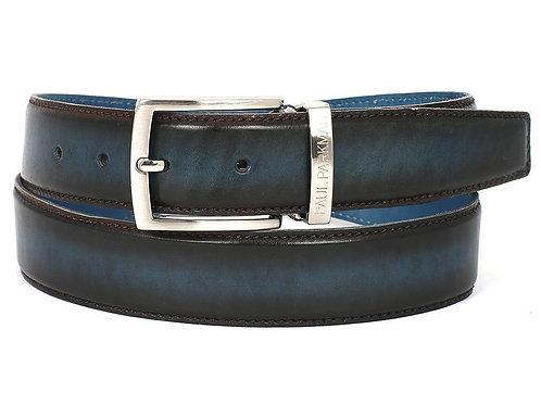 PAUL PARKMAN Men's Leather Belt Dual Tone Brown & Blue