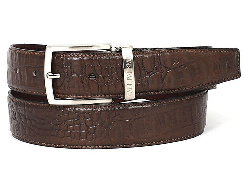 PAUL PARKMAN Men's Crocodile Embossed Calfskin Leather Belt Hand-Painted Brown