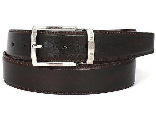 PAUL PARKMAN Men's Leather Belt Hand-Painted Dark Brown