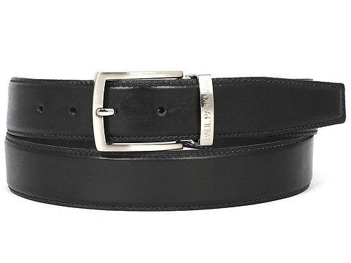 PAUL PARKMAN Men's Leather Belt Hand-Painted Black
