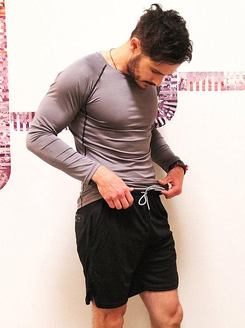 Adam Men's Drawstring Shorts With Border Tights & Pocket - Black