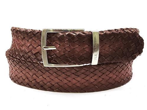PAUL PARKMAN Men's Woven Leather Belt Brown