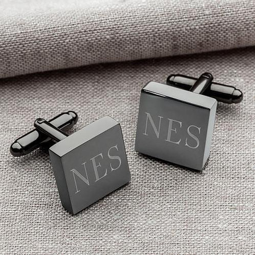 Personalized Gunmetal Cufflinks - Square