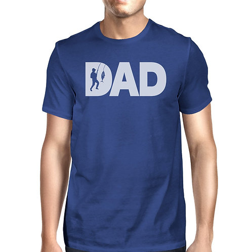 Dad Fish Mens Blue Summer Cotton Tee Funny Fishing Dad Design Top