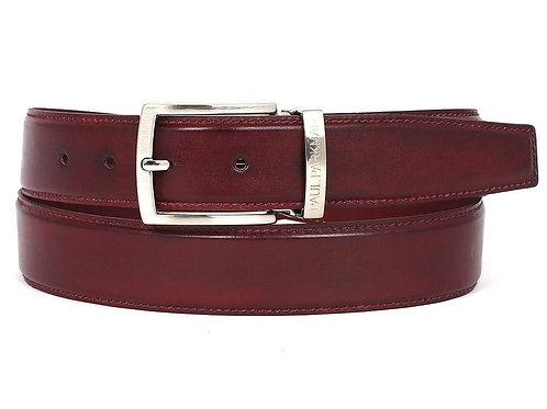 PAUL PARKMAN Men's Leather Belt Hand-Painted Bordeaux