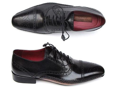 Paul Parkman Men's Captoe Oxfords Black Shoes (ID#5032-BLK)