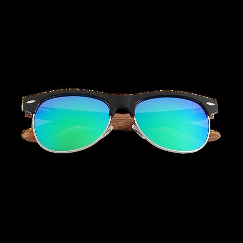 Real Zebra Wood Browline Style RetroShade Sunglasses by WUDN