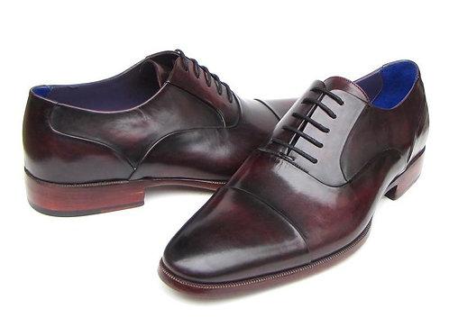 Paul Parkman Men's Captoe Oxfords Black Purple Shoes (ID#074-PURP-BLK)